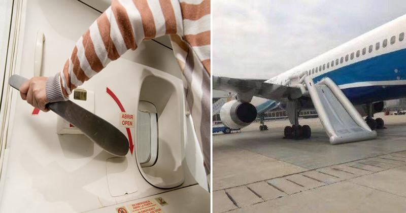 Китаянка из любопытства открыла аварийный выход самолета