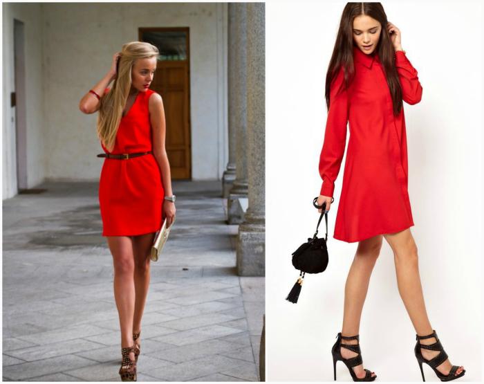 Платье красного цвета.