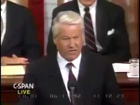 Речь Б. Ельцина в конгрессе США, которая была запрещена к показу по ТВ. Это надо слышать!!!