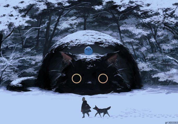 Японский иллюстратор представляет мир, в котором живут люди среди гигантских животных