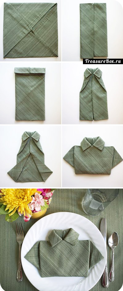 как сложить салфетку рубашкой