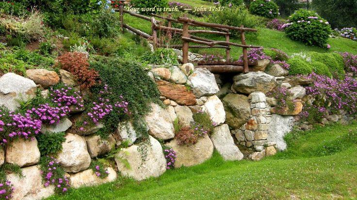 Ландшафтный дизайн стена из камня