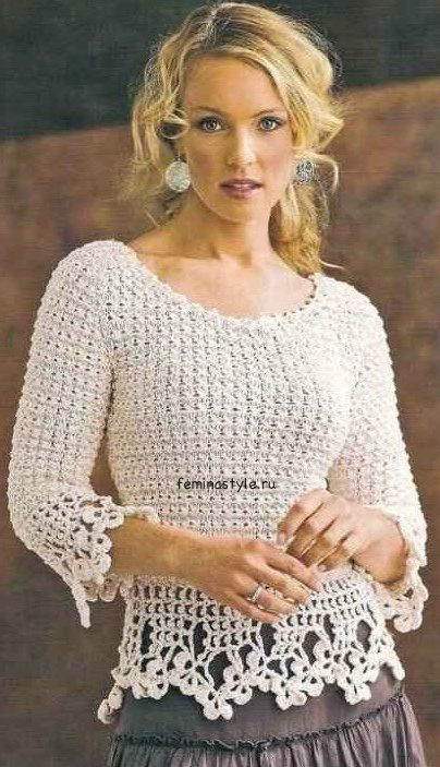 Ажурный пуловер с кружевной каймой