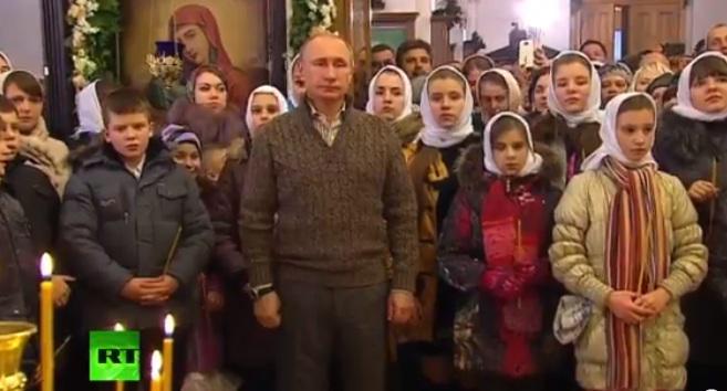 Владимир Путин встречает Рождество в сельском храме под Воронежем
