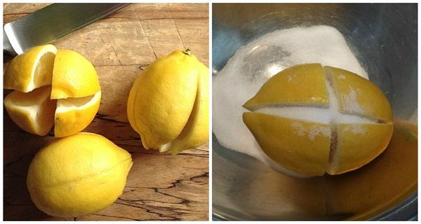 Разрежьте 1 лимон на 4 части, посыпьте солью и оставьте на кухне