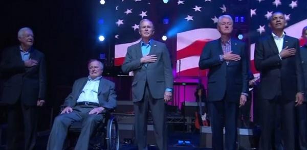 ВТехасе наодной сцене собрались пять бывших президентов США