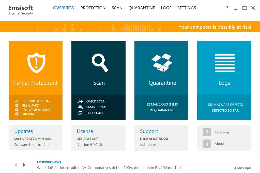 Emsisoft Internet Security 9.0: Статус безопасности - потенциальный риск