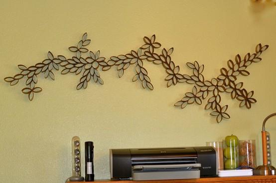 Много идей декора стены из бросового материала!