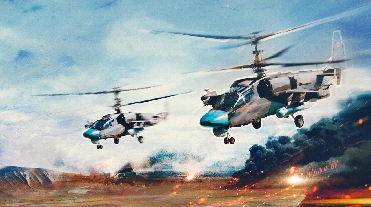 В Сети появилось видео «охоты» российских вертолетов в Сирии