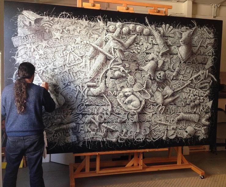 Удивительные «плетеные» картины кубинского художника Алекси Торрес
