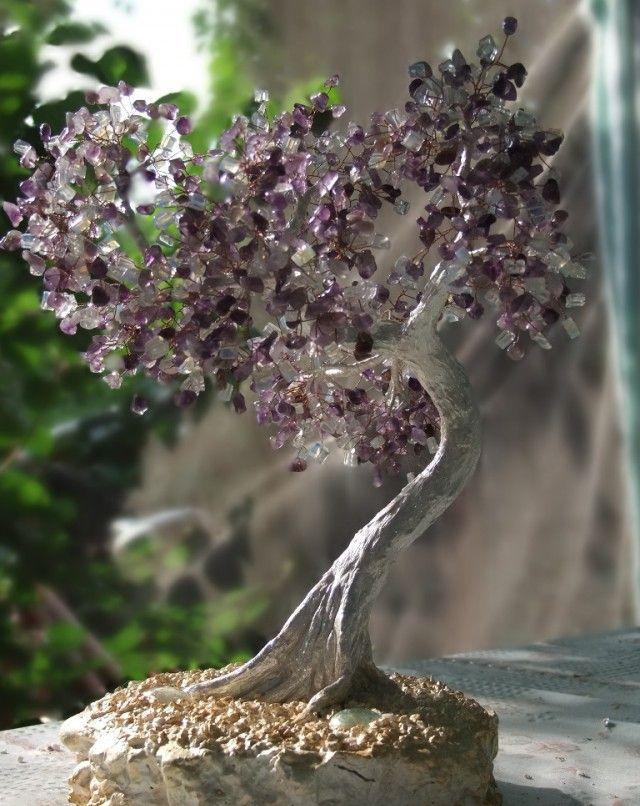 Деревья из камней и бисера бисер, дерево, своими руками