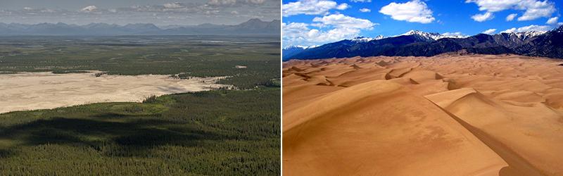 Великие песчаные дюны Кобук в Национальном парке Kobuk Valley на Аляске