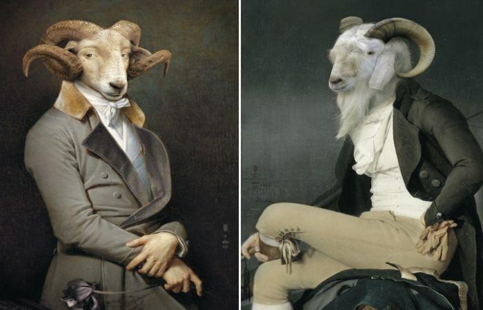 Животные в исторических костюмах на подносах и шкафах для самых эксклюзивных интерьеров