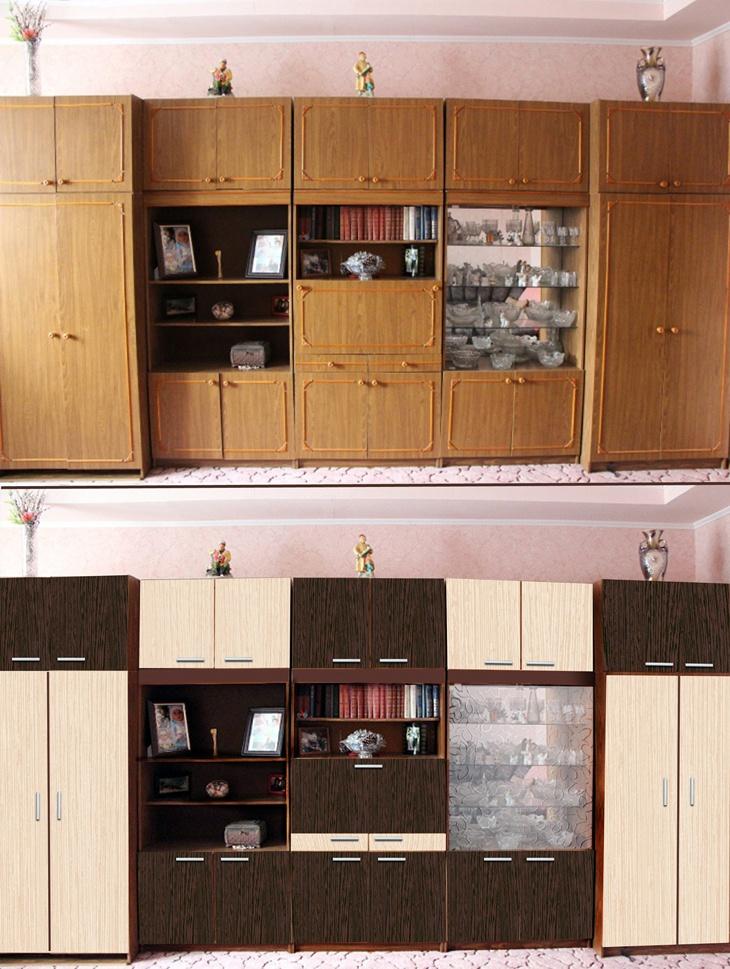 Способы обновления старой мебельной стенки своими руками, примеры в фото