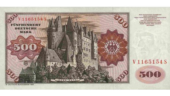 500 немецких марок образца 1960 года