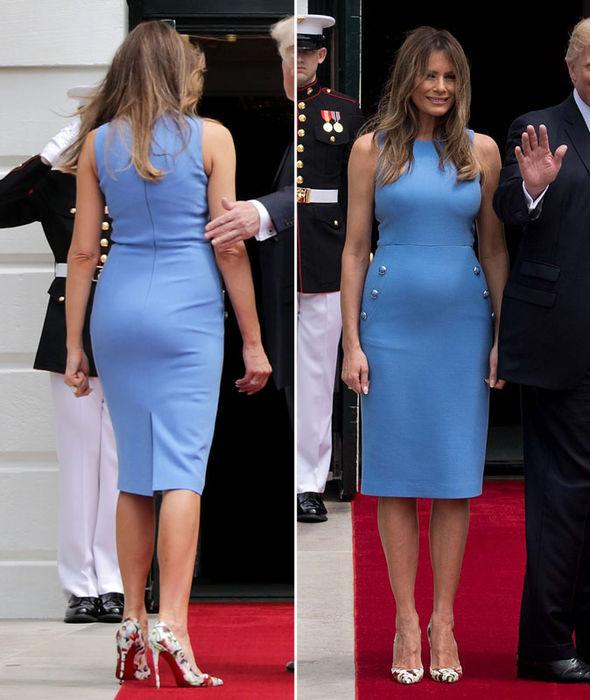 В этом платье Мелания откровенно толстая и пузатая