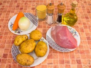 Суп с индейкой и пшеном. Ингредиенты