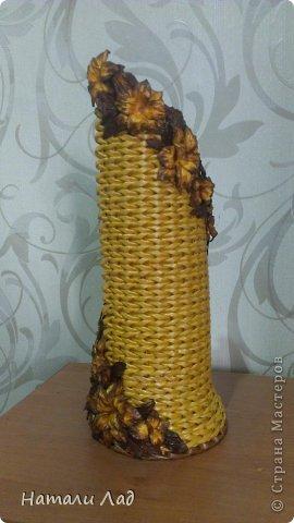 Мастер-класс Плетение МК бутылочницы с цветочками Трубочки бумажные фото 2