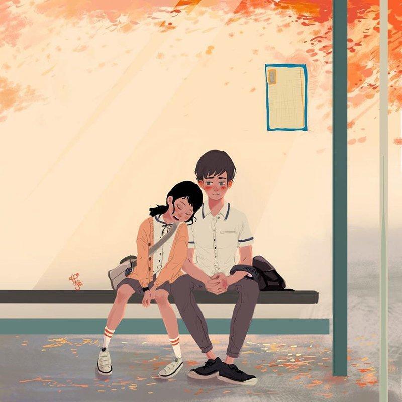 Потому что с этим человеком даже ждать автобус на остановке - счастье Любовь, Любовь . нежность . иллюстрация. художник, иллюстратор, иллюстрации, мимими, мужчина и женщина, чувства