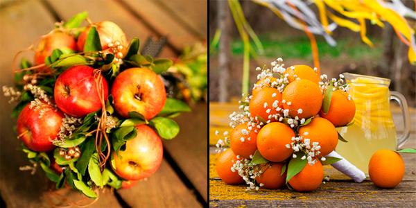 Букет из целых овощей и фруктов