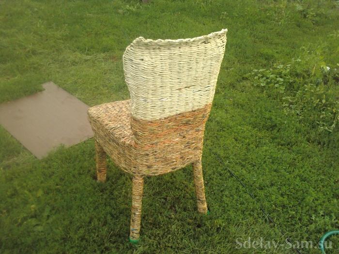 Плетение из газеты - Стул