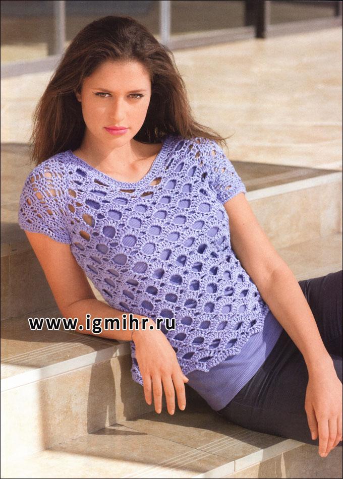 Лиловый пуловер с волнистым узором