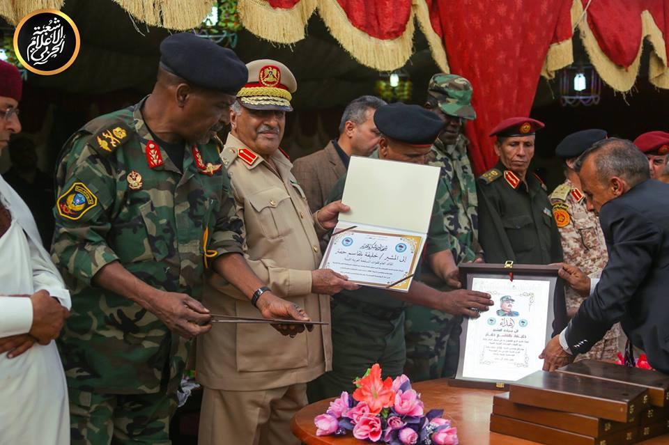 Церемония передачи бронетехники 298-му танковому батальону Ливийской национальной армии