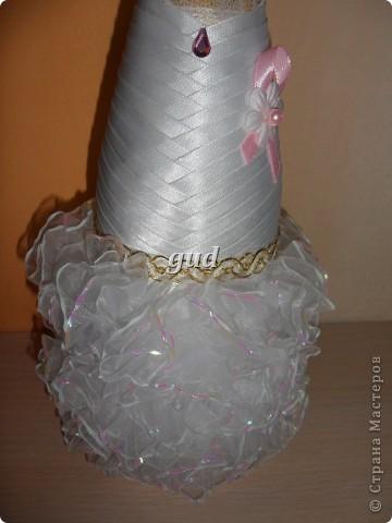 Декор предметов Мастер-класс Свадьба Аппликация Свадебные бутылочки и МК Ленты фото 32