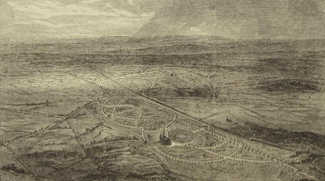 Первоначальный проект Бруквудского кладбища. По разные стороны от железной дороги расположены англиканский сектор и сектор для других конфессий.