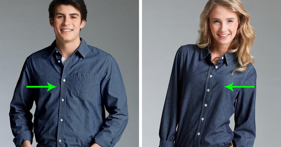 Почему пуговицы на мужских рубашках пришиты справа, а на женских слева?