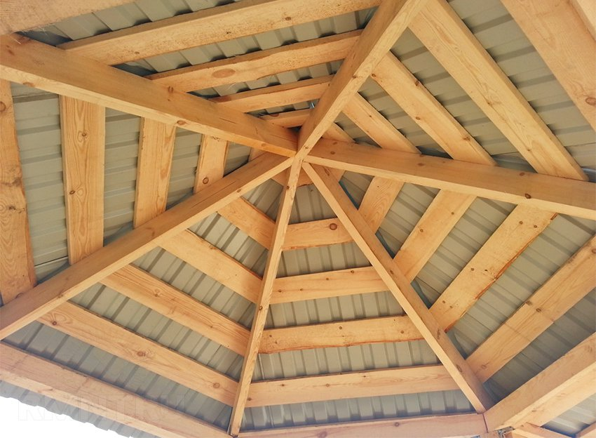 Как собрать крышу шестигранную беседку
