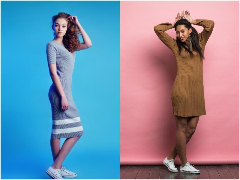 тренд кроссовки и платье