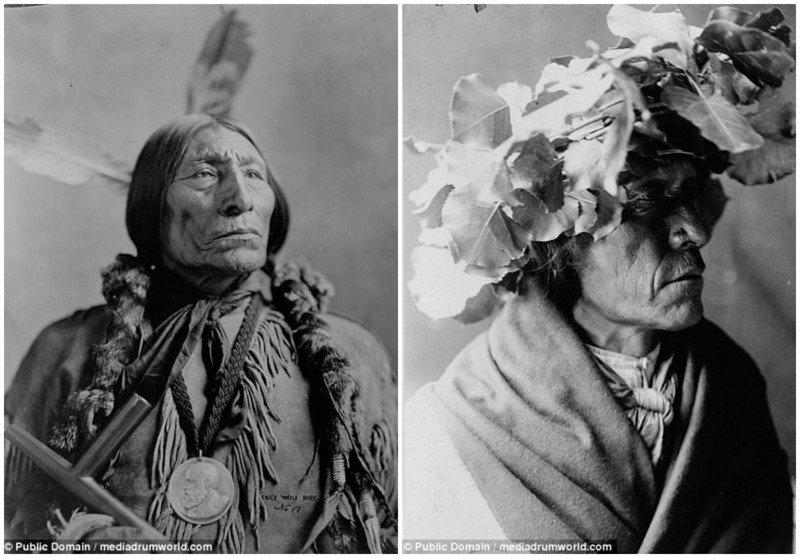 Слева: 1904 год, Волчья Накидка - вождь южных шайеннов (с 1838-1841 по 1910). Справа: мужчина из племени аборигены, индейцы, исторические кадры, история, племена, редкие фото, сша, фото