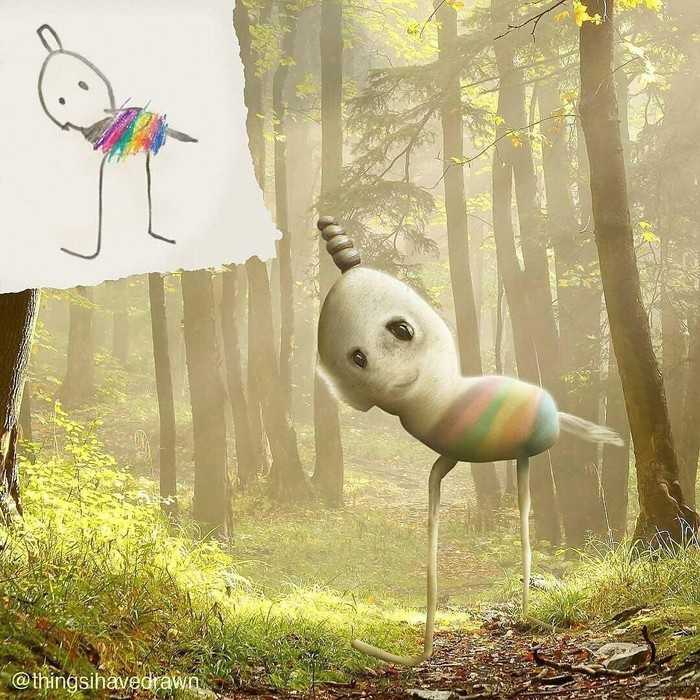 Как бы выглядел мир, если бы детские рисунки были правдивыми? Рисунок, Фотография, Длиннопост
