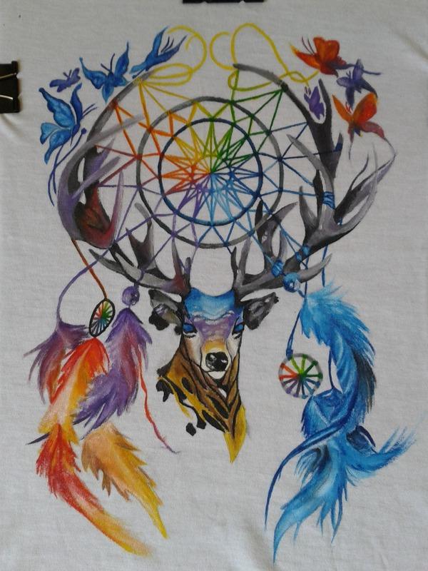 """Рисунок на футболке """"Ловец снов. Олень"""" акрил, Ловец снов, олень, длиннопост"""