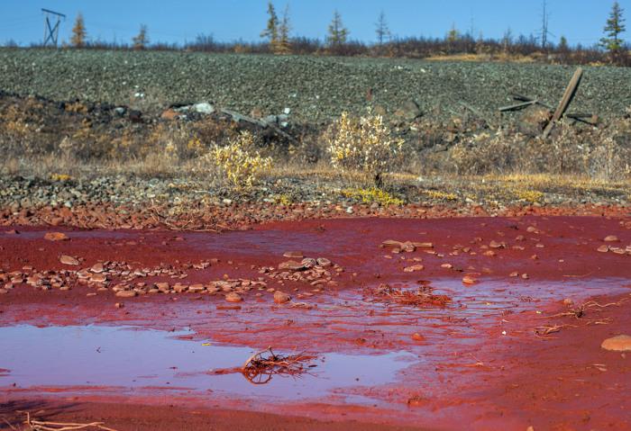 Река в рекордно загрязненном Норильске./Фото: openrussia.s3.amazonaws.com