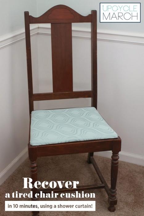 Новая обивка для стульев из старой занавески для душа.