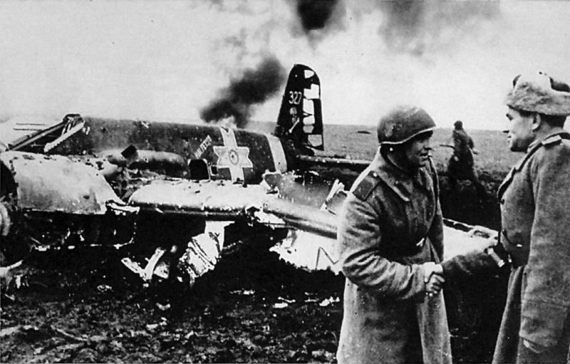 Командир зенитной батареи получает поздравления у сбитого им румынского Hs-129B-2