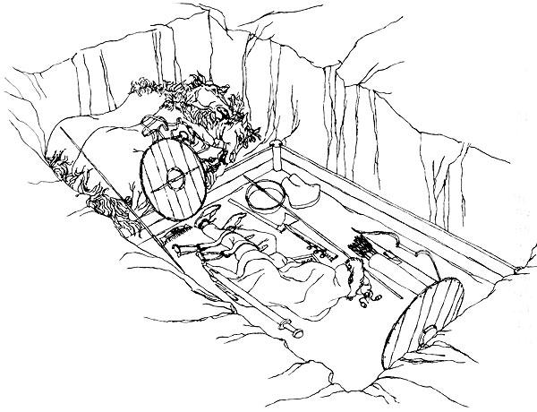 98. Бирка, камерное погребение (реконструкция)
