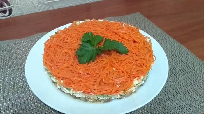 Салат с грибами и корейской морковью Кулинария, Длиннопост, Видео, Слоеный салат