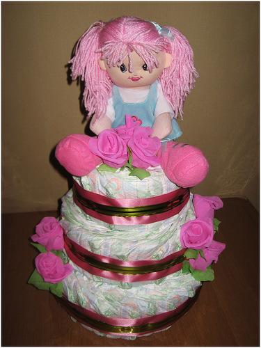 Торт из памперсов своими руками для девочки фото