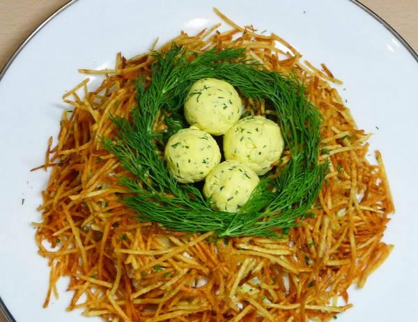 Салат глухариное гнездо с фото пошагово в