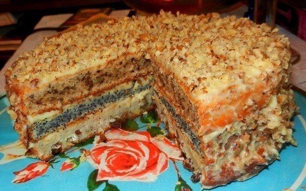 Популярный трехслойный домашний торт «Любимый»
