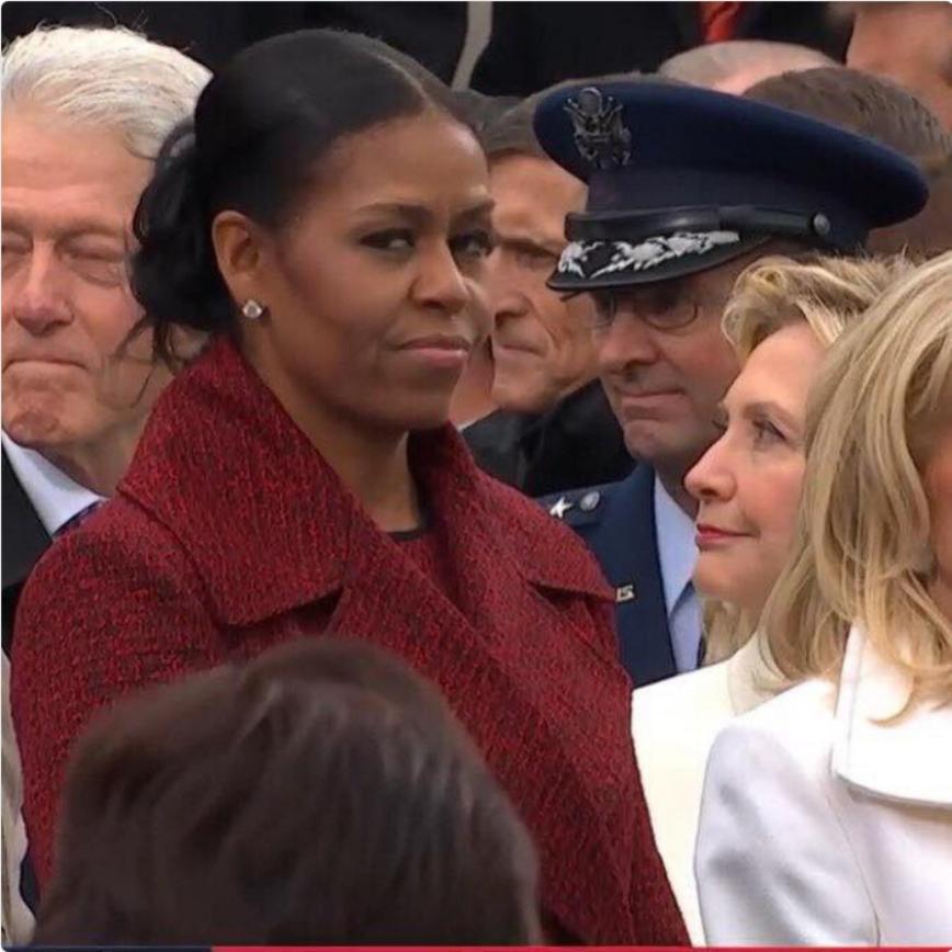 «Боже мой, этот взгляд»: лицо Мишель Обамы стало главным мемом инаугурации