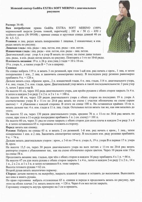 Женский пуловер с косами. Схема и описание (2) (494x700, 241Kb)