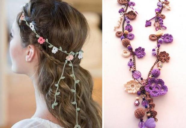 Потрясающие вязаные браслеты, серьги, колье... 30 прекрасных украшений крючком и спицами