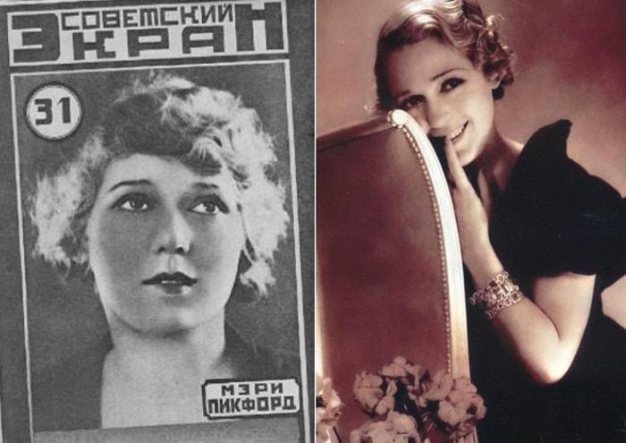 Мэри Пикфорд на обложке журнала *Советский экран*, 1926, и на фото   Фото: kino-teatr.ru