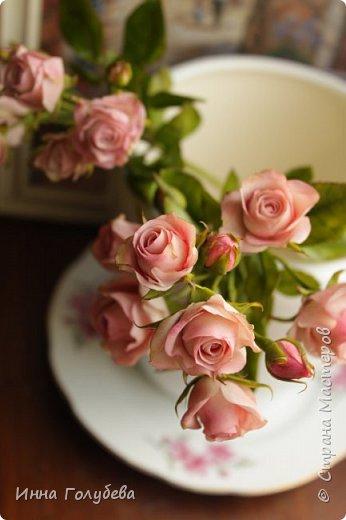 Кустовая роза из холодного фарфора
