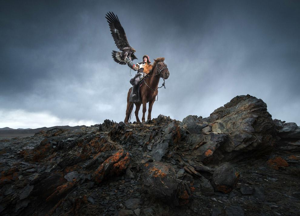 Традиционная монгольская охота с беркутом