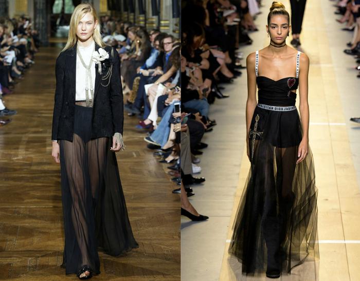 Черные полупрозрачные платья и юбки.